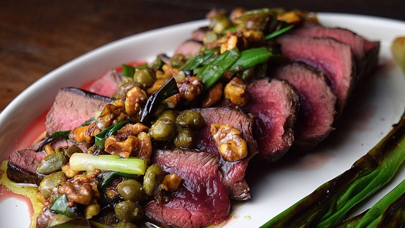 Elk Loin with Charred Scallions